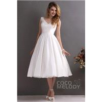 Elegant A-Line V-Neck Tea Length Satin Wedding Dress CWXA13001 - Top Designer Wedding Online-Shop