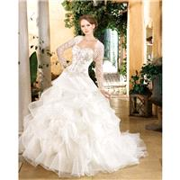 Generous Ball Gown Sweetheart Beading Lace Sweep/Brush Train Organza Wedding Dresses - Dressesular.c