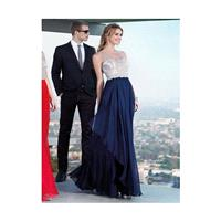 2017 Pretty A Line Chiffon Dark Navy And Red Floor Length Beaded Prom Dress - dressosity.com