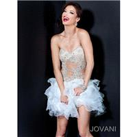 Stylish Tulle A-line Short Corset Strapless Sweetheart Ruffled Cocktail/cute/club Dress Jovani 3996