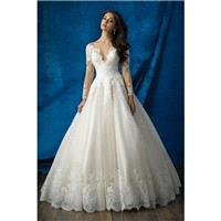 Style 9366 by Allure Bridals - LaceTulle Chapel Length Floor length Ballgown V-neck Long sleeve Dres