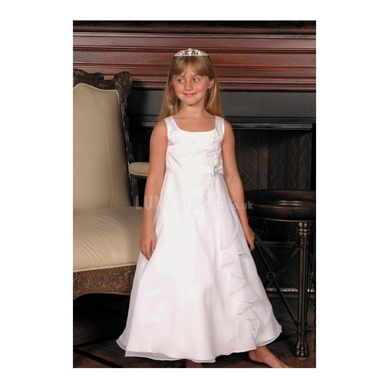 My Stuff, Stunning Chiffon A line Empire Waist Flower Girl Dress With Draping - Compelling Wedding D