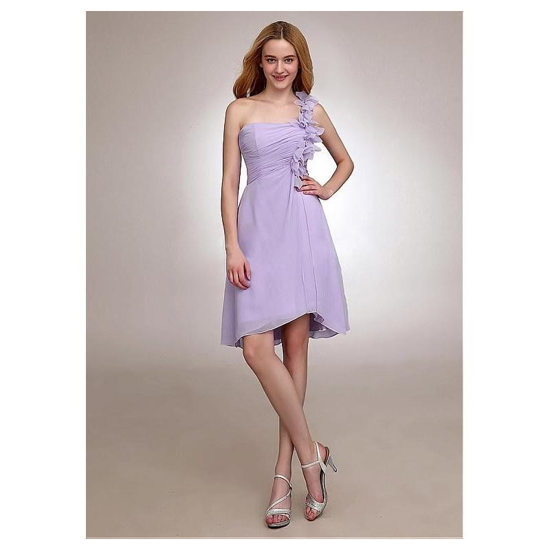 My Stuff, Charming Chiffon One Shoulder Neckline Natural Waistline Knee-length A-line Bridesmaid Dre