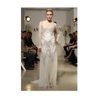 Anne Bowen - Spring 2013 - Armor Long Sleeve Beaded Sheath Wedding Dress with Illusion Neckline - St