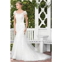 Style 2287 by Casablanca Bridal - Fit-n-flare Short sleeve Semi-Cathedral SatinTulle Floor length Sc