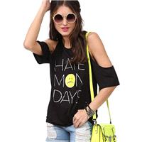 Hate HATE MONDAYS Monday letters printed strapless short sleeve t-shirt D460 - Bonny YZOZO Boutique