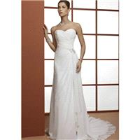Timeless A line Chiffon Floor Length Sweetheart Wedding Dress With Ruching - Compelling Wedding Dres
