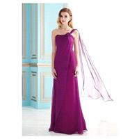 Fabulous Silk Like Chiffon A-Line One Shoulder Neckline Full Length Mother of the Bride Dress - over