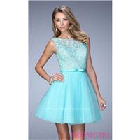 Short Lace Embellished Homecoming Dress by La Femme - Discount Evening Dresses |Shop Designers Prom