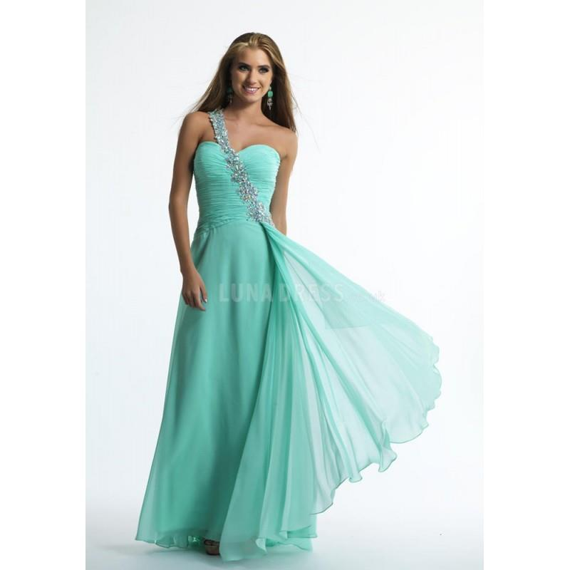 My Stuff, Beautiful Floor Length One Shoulder Chiffon Sleeveless A line Prom Dresses With Beading -