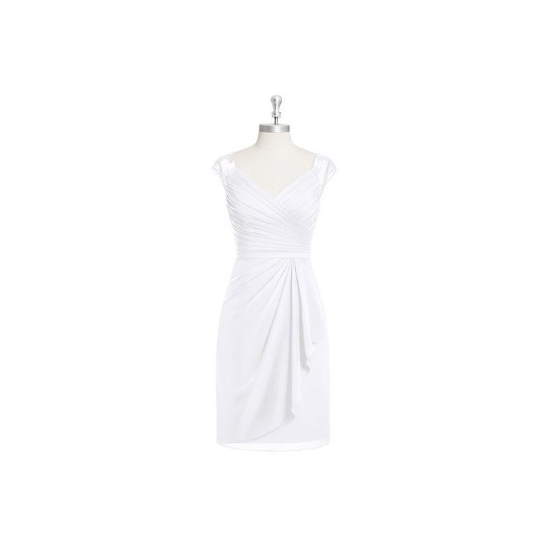 My Stuff, White Azazie Fawne - V Neck Knee Length Chiffon And Lace Illusion Dress - The Various Brid
