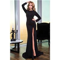 Jovani 24898 Jewel Neck Long Sleeve Thigh-High Slit - Jovani Social and Evenings Jewel, Long Sleeves
