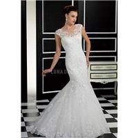 Retro Mermaid Lace Floor Length Jewel Neck Wedding Dress With Appliques - Compelling Wedding Dresses