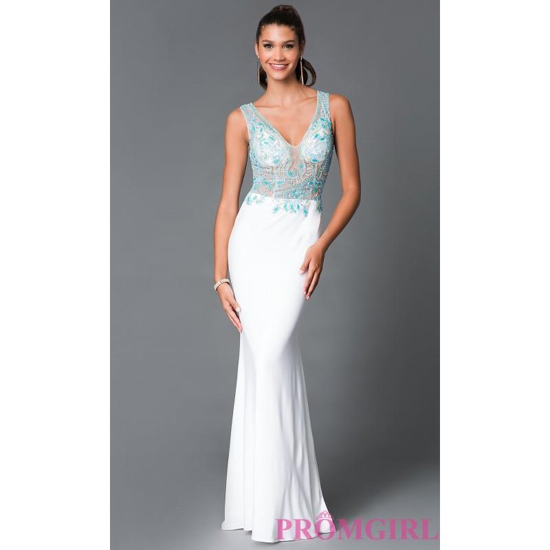 My Stuff, Long White Sheer Illusion Bodice Prom Dress by Temptation - Discount Evening Dresses |Shop