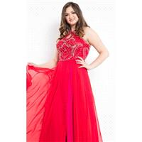 Red/Fuchsia Beaded Halter Chiffon Gown by Rachel Allan Curves - Color Your Classy Wardrobe