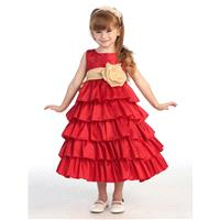 Blossom Red Sleeveless Taffeta Bodice Layered Skirt w/ Detachable Sash & Flower Style: BL203 - Charm