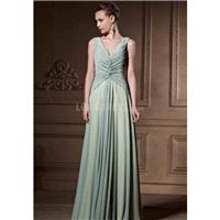 Unique V Neck Chiffon A line Sleeveless Floor Length Evening Dress With Sequins - Compelling Wedding