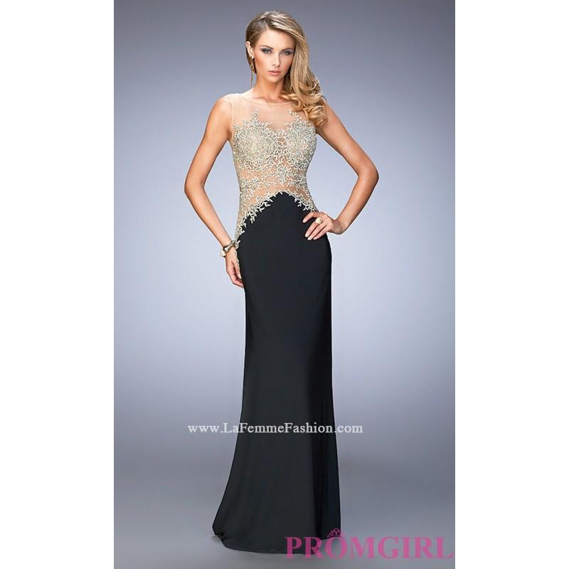 My Stuff, Long La Femme Prom Dress with Beaded Illusion Bodice - Discount Evening Dresses |Shop Desi