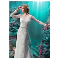 Fabulous Lace Scoop Neckline Mermaid Wedding Dresses with Beaded Lace Appliques - overpinks.com