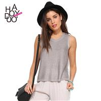Leisure knit jacket in the streets before the round neck sleeveless short long-slit short sweater -