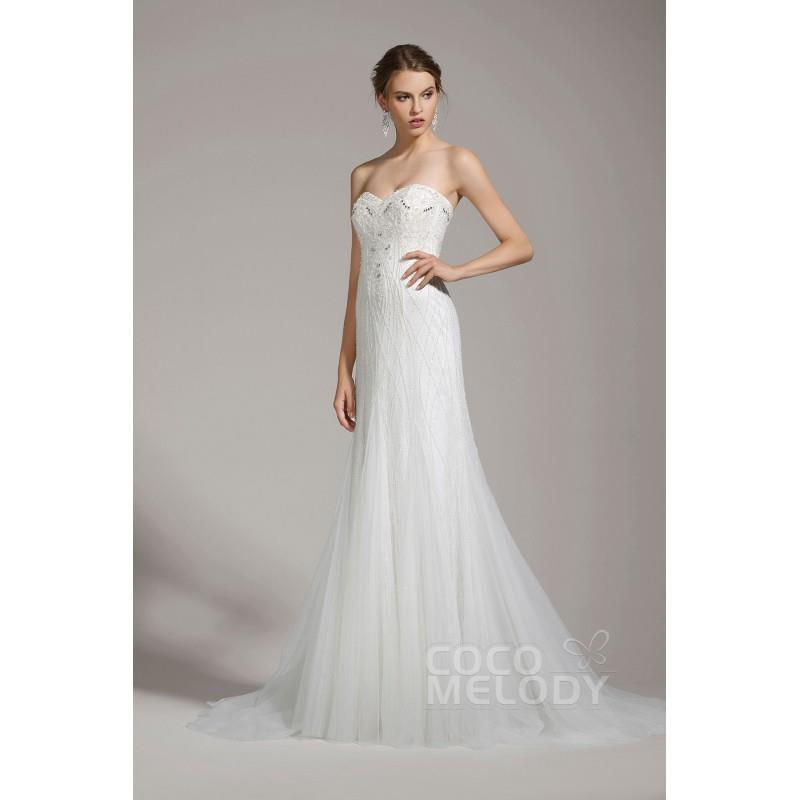 My Stuff, Delicate Sheath-Column Sweetheart Tulle Ivory Sleeveless Wedding Dress with Beading and Cr