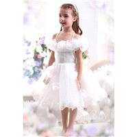 Pretty A Line Halter Tea Length Tulle Ivory Flower Girl Dress CKZK13003 - Top Designer Wedding Onlin