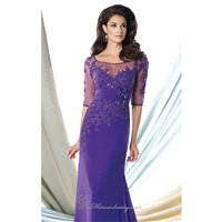 Purple Lace Georgette Chiffon Gown by Mon Cheri Montage - Color Your Classy Wardrobe