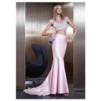 Elegant Tulle & Satin High Collar Neckline Sheath Prom Dresses with Rhinestones & Pearls - overpinks