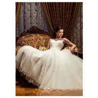 Glamorous Tulle Sweetheart Neckline Ball Gown Wedding Dress With Beadings And Rhinestones - overpink
