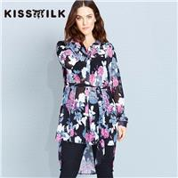 Plus size women's clothing long fashion winter new style shirt dress printed lace shirt - Bonny YZOZ