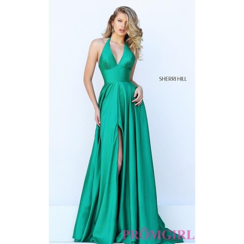 My Stuff, V-Neck Halter Long Open Back Prom Dress by Sherri Hill - Discount Evening Dresses |Shop De