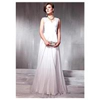 In Stock Elegant Tencel & Malay Satin A-line Low V-neck White Prom Dress - overpinks.com