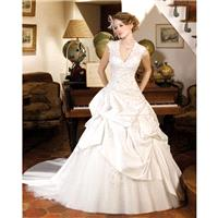 Generous Ball Gown Straps V-neck Lace Chapel Train Satin&Tulle Wedding Dresses - Dressesular.com