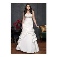 Elegant Fit N Flare Sweetheart Taffeta Asymmetric Waist Floor Length Wedding Dress - Compelling Wedd