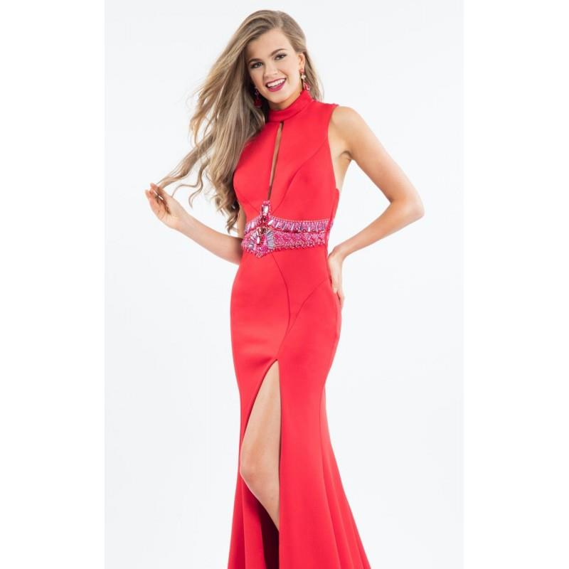 My Stuff, Red Beaded Slit Long Gown by Rachel Allan - Color Your Classy Wardrobe