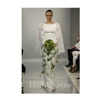 Theia - Spring 2014 - Hannah Marie Jacquard Sheath Wedding Dress with High Neckline and Cape - Stunn