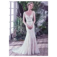 Fantastic Tulle V-neck Neckline Mermaid Wedding Dresses With Embroidery & Beadings - overpinks.com