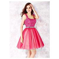 Fantastic Polka Dot Tulle Square Neckline A-line Homecoming Dresses With Beadings & Rhinestons - ove