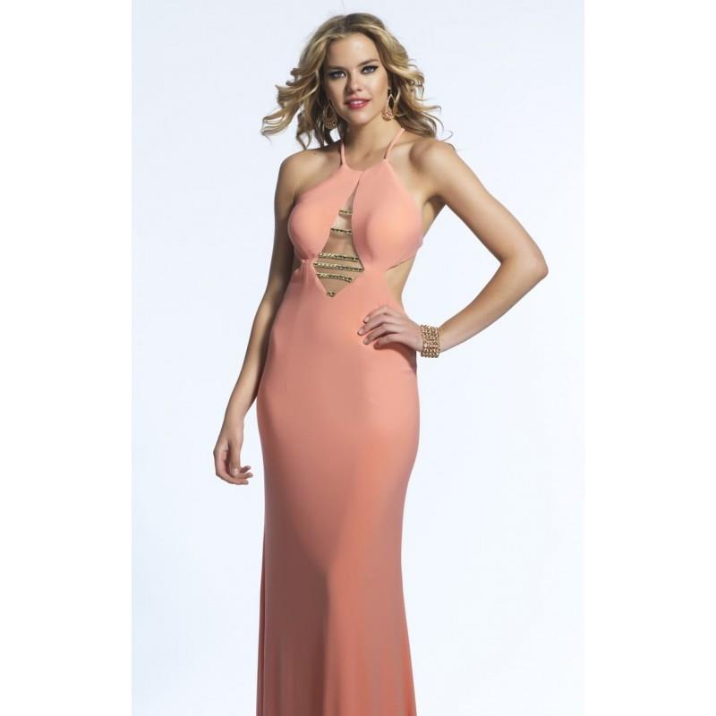 My Stuff, Coral Beaded Halter Neck Gown by Dave and Johnny - Color Your Classy Wardrobe