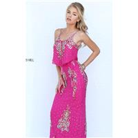 Fuchsia/Multi Beaded Long Gown by Sherri Hill - Color Your Classy Wardrobe