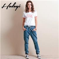 Ladies summer styles elastic waist pants children's nine leisure harem pants trousers pants jeans -