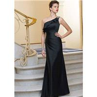 Elegant Sheath/Column One Shoulder Beading Draping Floor-length Satin Chiffon Bridesmaid Dresses - D