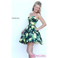 Black and Yellow Floral Print Short Strapless Sherri Hill Dress - Discount Evening Dresses |Shop Des