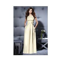 Floor Length A line Bateau Neck Satin Side Zipper Bridesmaid Dress With Flowers - Compelling Wedding
