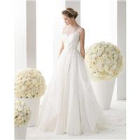 Simple A-line Straps Lace Hand Made Flowers Sweep/Brush Train Wedding Dresses - Dressesular.com