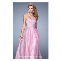 Pink Mist Ruched Chiffon Gown by La Femme - Color Your Classy Wardrobe