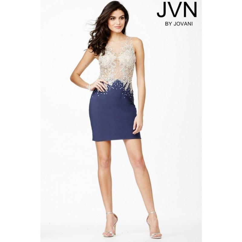 My Stuff, Jovani JVN27731 Jersey Sleeveless Short Dress - Jovani Sheath Homecoming Short Illusion, J
