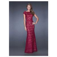 Chic Lace & Tulle & Satin Bateau Neckline Floor-length Sheath Prom Dress - overpinks.com