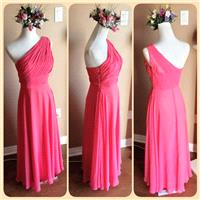 Illusion Coral bridesmaid dress, chiffon bridesmaid dress with illusion neckline and circle skirt -