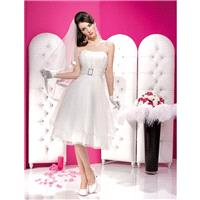 Simple Ball Gown Strapless Ruching Knee-length Organza Wedding Dresses - Dressesular.com